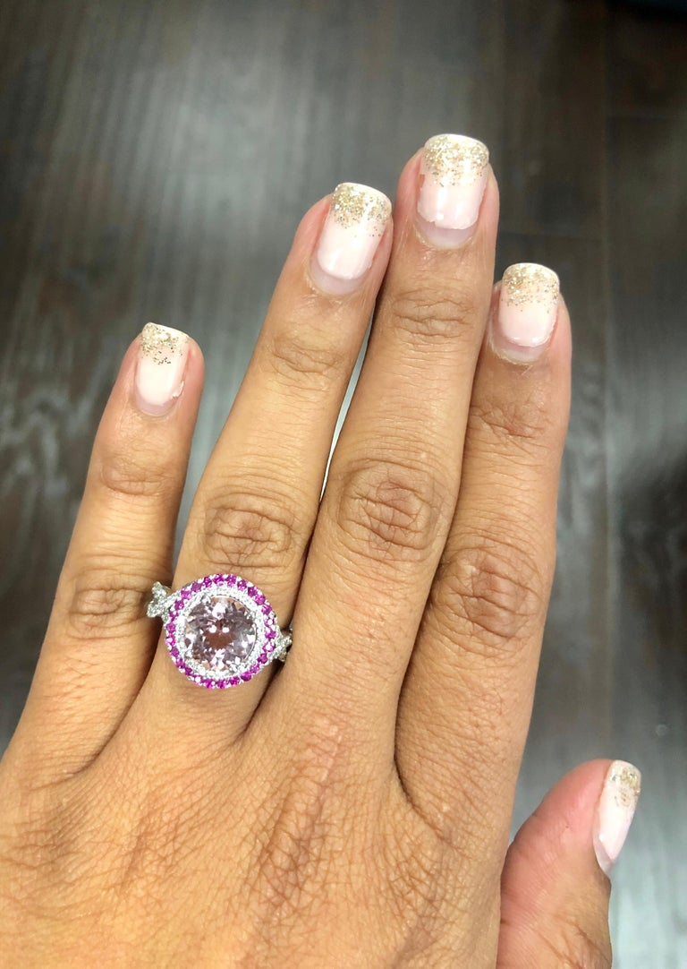 3.45 Carat Pink Morganite, Pink Sapphire and Diamond White Gold Engagement Ring In New Condition For Sale In San Dimas, CA