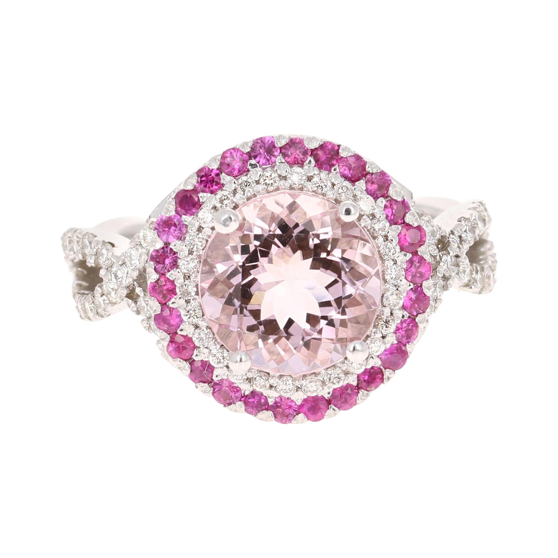 3.45 Carat Pink Morganite, Pink Sapphire and Diamond White Gold Engagement Ring