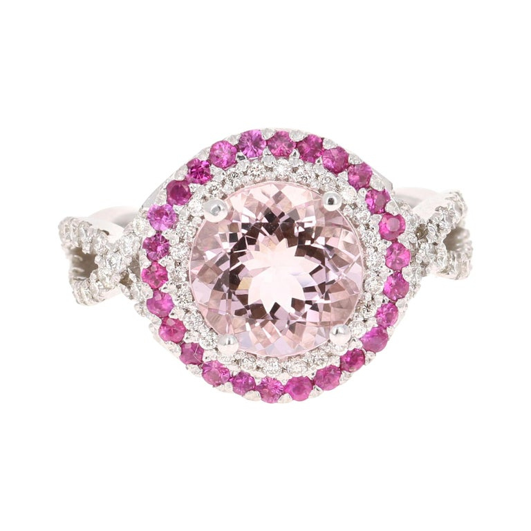 3.45 Carat Pink Morganite, Pink Sapphire and Diamond White Gold Engagement Ring For Sale