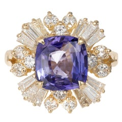 3.45 Carat Sapphire Diamond Color Change Violet Purple Gold Engagement Ring