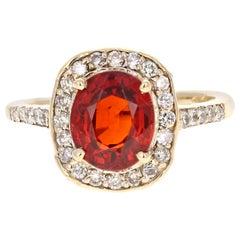 3.45 Carat Spessartine Diamond Cocktail Ring