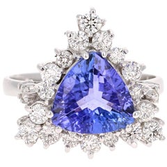 3.45 Carat Trillion Cut Tanzanite Diamond Cocktail Ring 14 Karat White Gold