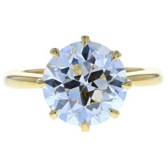 3.45 Old European Cut Diamond in Eight Prong Yellow Gold Setting