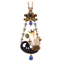34.53 Carat White Diamond Sapphire Emerald Tanzanite Yellow Gold Triton Necklace