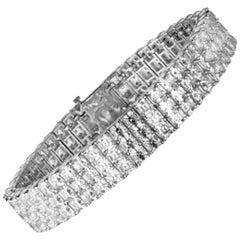 34.57 Carat Three-Row Asscher Cut Diamond Bracelet