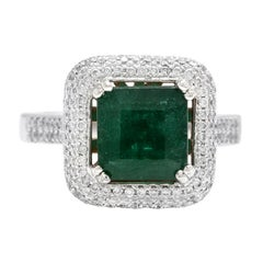 3.45ct Natural Emerald & Diamond 14k Solid White Gold Ring