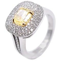3.46 Carat GIA Certified Fancy Intense Yellow Diamond Cocktail Ring in Platinum