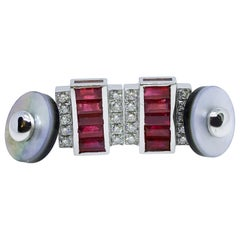 3.46 Carat Natural Ruby Baguette 0.59 White Diamond Moonstone Back Cufflinks