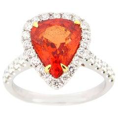 3.46 Carat Pear Shape Orange Sapphire and Diamond Cocktail Ring