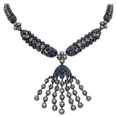 34.69 Carat Blue Sapphire and White Diamond Fringe Statement Necklace