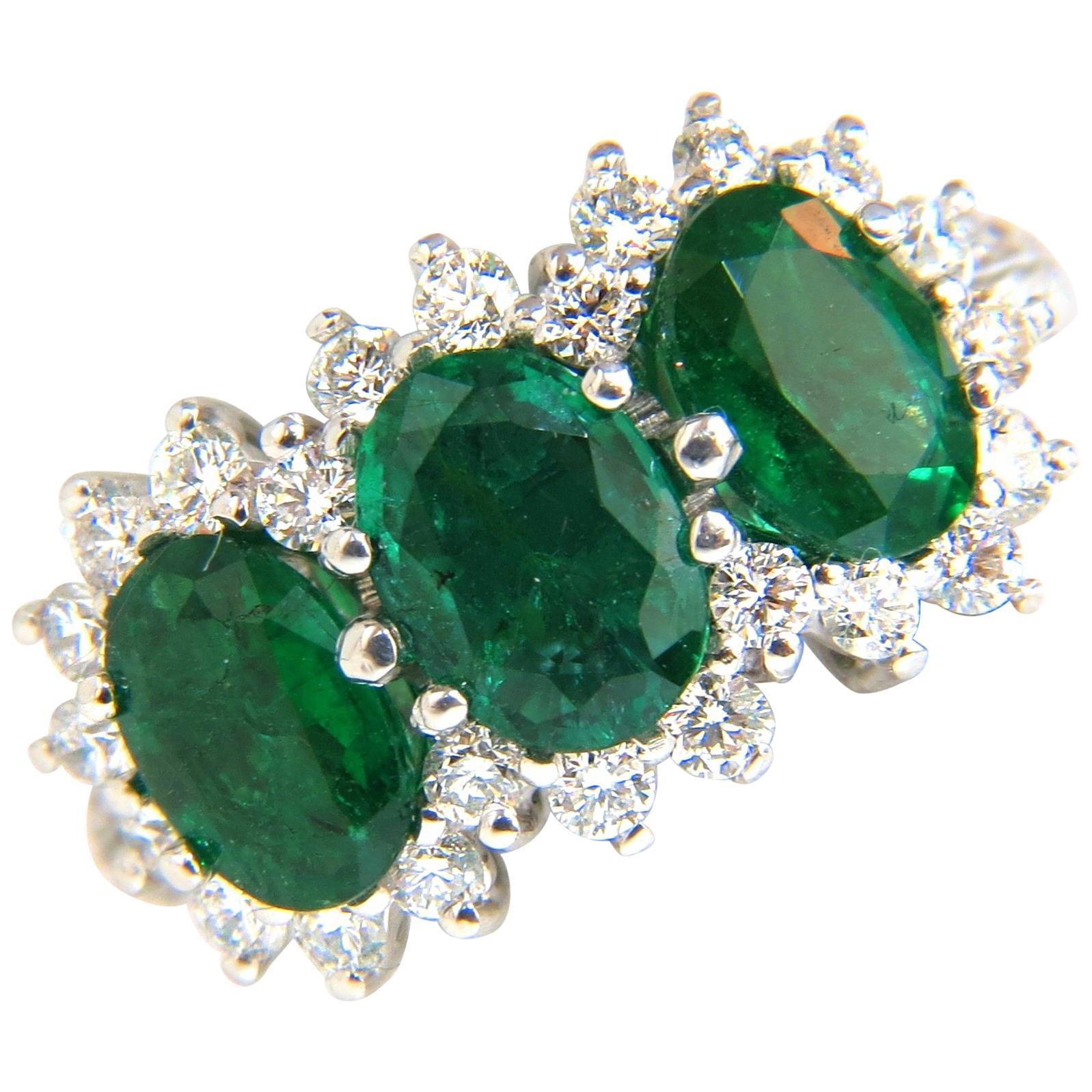 3.47 Carat 18 Karat Natural Vivid Green Emeralds Diamond Ring Cluster Cocktail