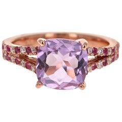 3.47 Carat Amethyst Pink Sapphire Diamond 14 Karat Rose Gold Cocktail Ring