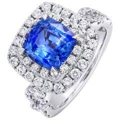 3.47 Carat Blue Sapphire and Diamond Ring