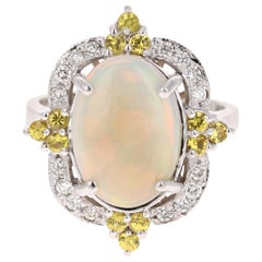 3.47 Carat Opal Yellow Sapphire Diamond 14 Karat White Gold Ring