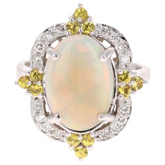 3.47 Carat Opal Yellow Sapphire Diamond 14 Karat White Gold Ring