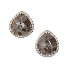 3.47 Carat Pear Dark Gray Diamond Halo Gold Stud Earrings