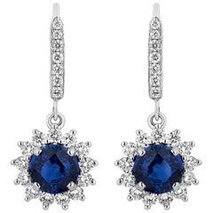 3.47 Carat Sapphire Diamond Dangle Earrings