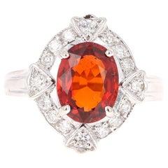 3.47 Carat Spessartine Diamond Ring 14 Karat White Gold