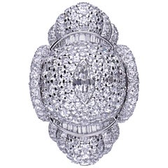 34.75 Carat Diamonds Platinum Cocktail Ring