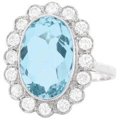 3.48 Carat Aquamarine and Diamond Ring