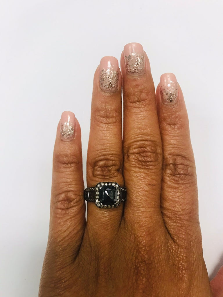 3.48 Carat Black and White Diamond 14 Karat Gold Ring In New Condition For Sale In San Dimas, CA