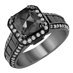 3.48 Carat Black and White Diamond 14 Karat Gold Ring