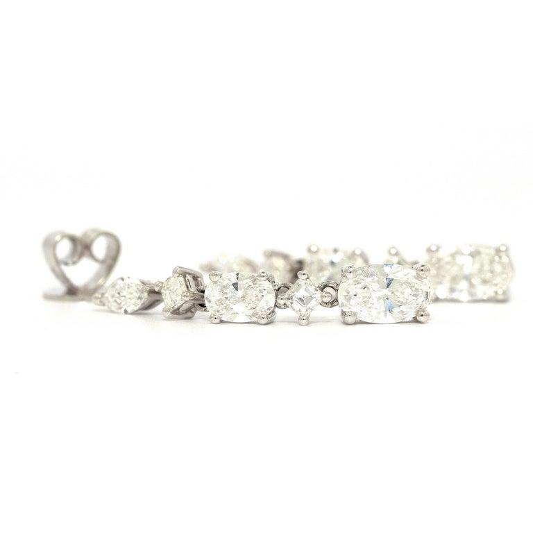 Contemporary 3.48 Carat Diamond Stud Dangling Earrings 18 Karat White Gold For Sale