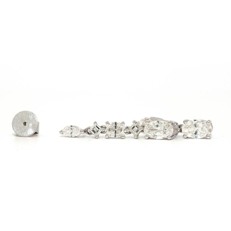 Oval Cut 3.48 Carat Diamond Stud Dangling Earrings 18 Karat White Gold For Sale
