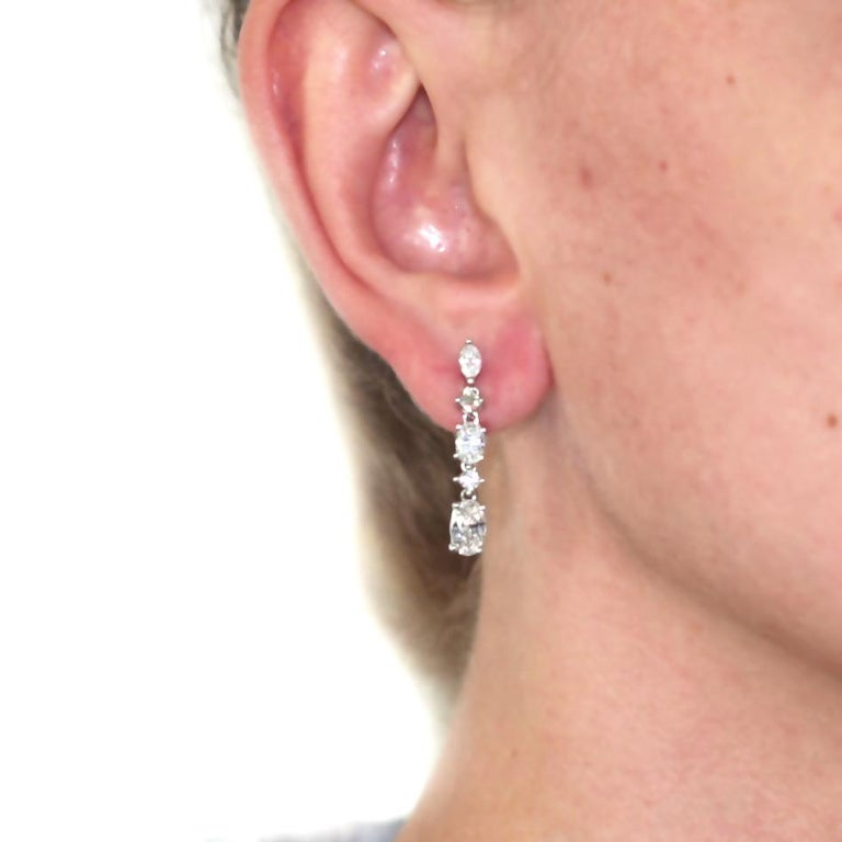 3.48 Carat Diamond Stud Dangling Earrings 18 Karat White Gold In New Condition For Sale In New York, NY