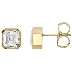 3.48 Carat Asscher Cut Diamonds Set in 18 Karat Yellow Gold Earrings