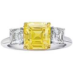 3.48 Carat Square Emerald Cut Yellow Sapphire and Diamond Ring