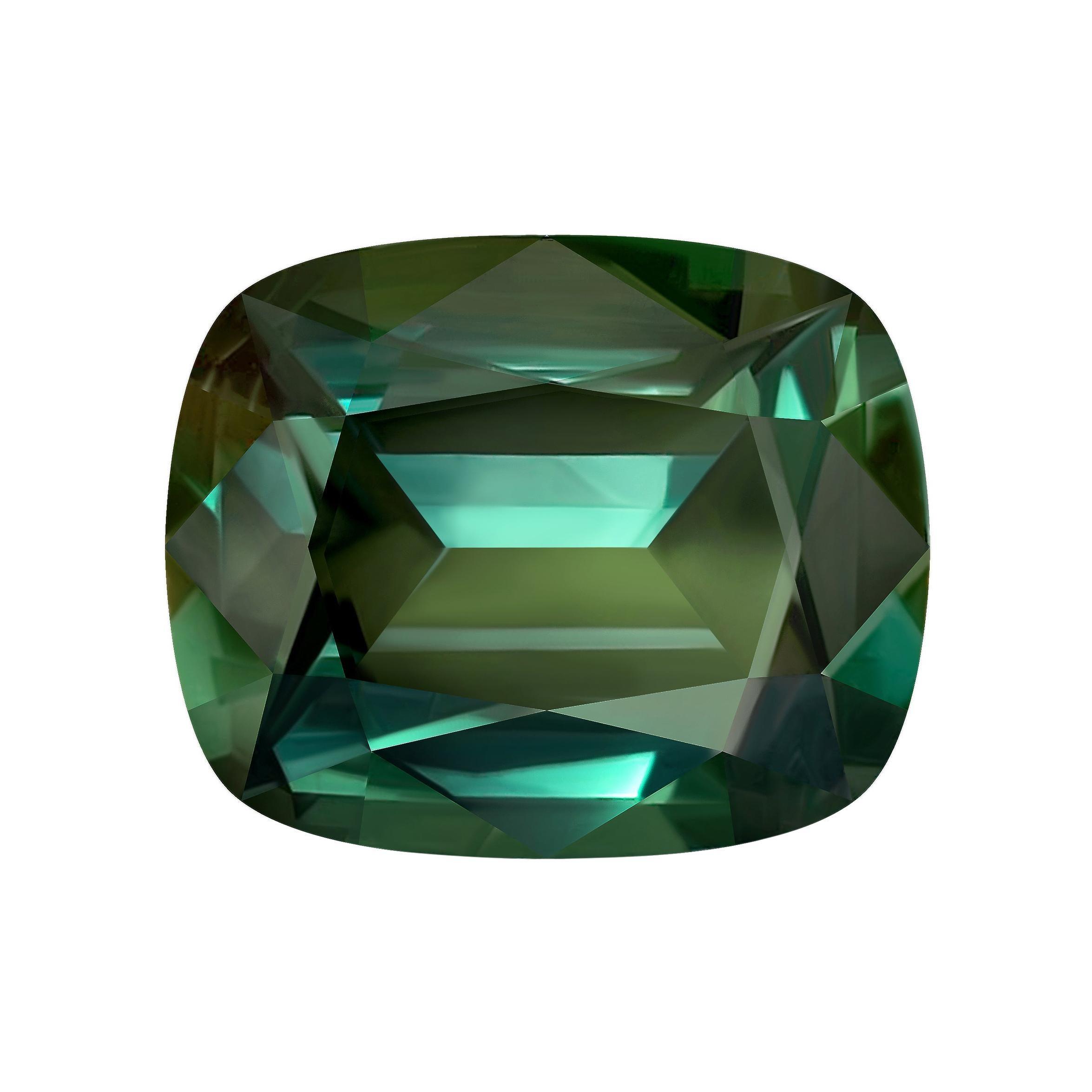 34,83 Carat Natural Srilankan Green Sapphire Cushion Shape GRS Certificate