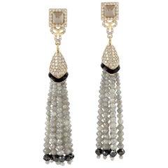 34.88 Carat Diamond 18 Karat Gold Tassel Earrings