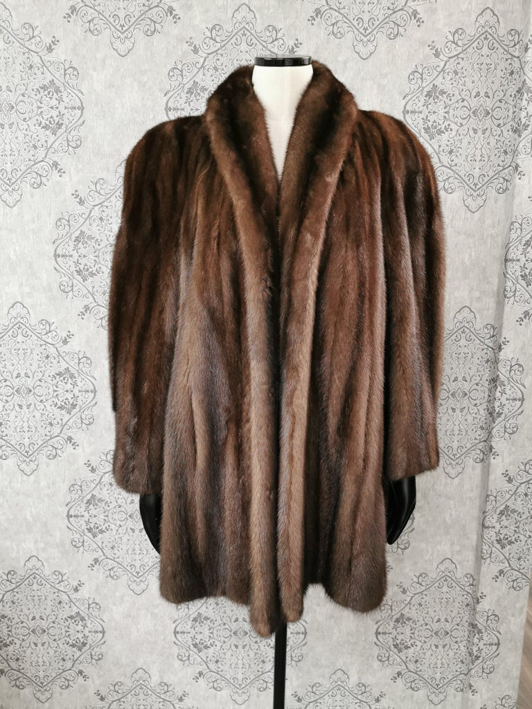 Black Donna Karan New York for Berger Christensen Demi-Buff Mink Fur Coat (Size 16-18) For Sale
