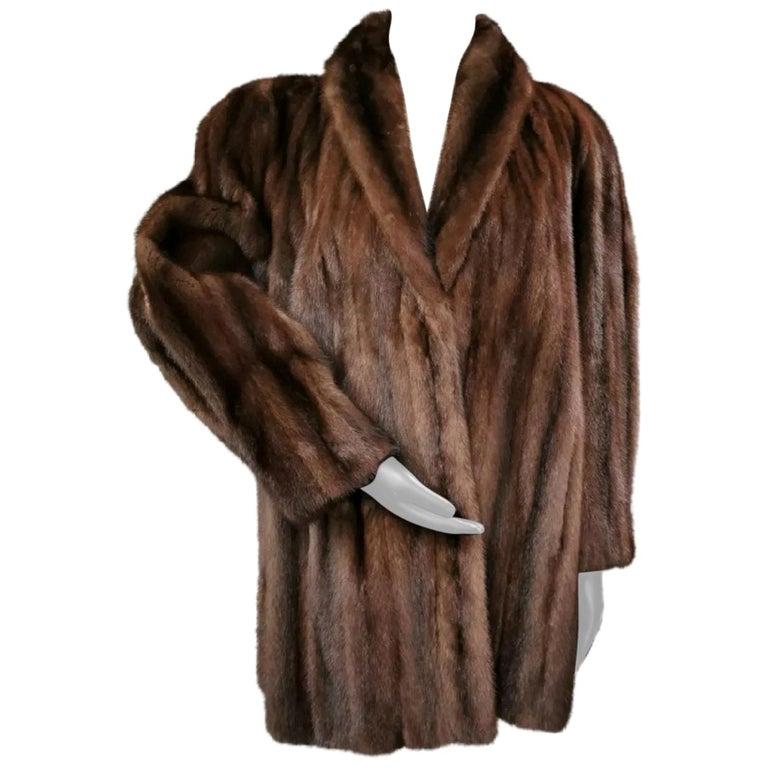 Donna Karan New York for Berger Christensen Demi-Buff Mink Fur Coat (Size 16-18) For Sale