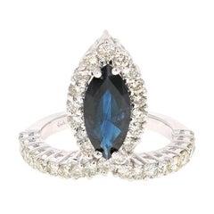 3.49 Carat Blue Sapphire Diamond 18 Karat White Gold Cocktail Ring