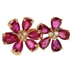 3.49 Carat Burmese Ruby Diamond 18 Karat Yellow Gold Cocktail Ring