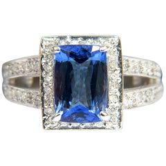 3.49 Carat Natural Cushion Tanzanite Diamond Ring Split Shank 14 Karat