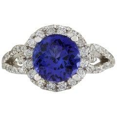 3.49 Carat Natural Tanzanite 18 Karat White Gold Diamond Ring