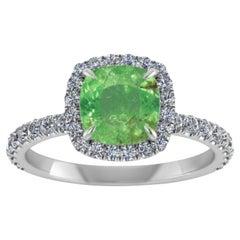 3.49 Carat Pariba Green Tourmaline Diamond Ring 18 Karat Gold
