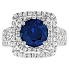 3.49 Carat Round Cut Blue Sapphire Diamond Gold Ring