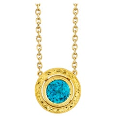 3.49 ct. Round Blue Zircon, 18k Yellow Gold Bezel Drop Pendant Chain Necklace