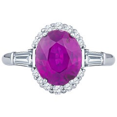 3.49 Carat No Heat Pink Natural Sapphire and Diamond Platinum Ring GIA Certified