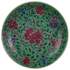 18th Century Chinese Porcelain Pre Bencharong Famille Rose Green Ground Flower