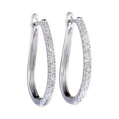 .35 Carat 14 Karat White Gold Diamond Oval Hoop Earrings