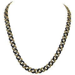 3.5 Carat 327 Diamond Blue Enamel Necklace 18 Karat Gold Modern
