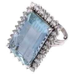 35 Carat Aquamarine Diamond Platinum Ring