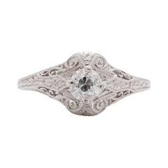 .35 Carat Art Deco Diamond Platinum Engagement Ring