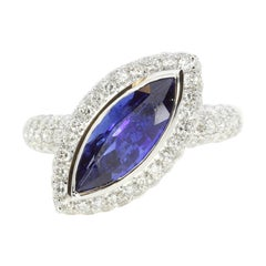 3.5 Carat Blue Sapphire Marquise Ring with White Diamonds