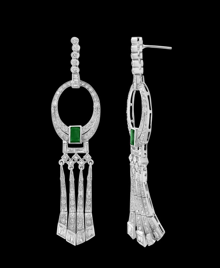3.5 Carat Colombian Emerald Cut Emerald Diamond Hanging Earrings Platinum In Excellent Condition For Sale In New York, NY